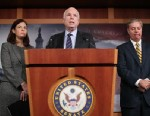 PHOTO: Sen. John McCain,R-AZ, Sen. Lindsey Graham,R-SC, and Sen. Kelly Ayotte, R-NH, hold a news conference on the Benghazi terrorist attack at the U.S. Capitol, Nov. 14, 2012, in Washington.