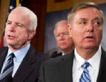 PHOTO: Sen. John McCain, R-Ariz., and Lindsey Graham, R-S.C., right, conduct a news conference, February, 2010.