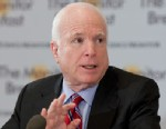 PHOTO: Senator John McCain speaks at the St. Regis Hotel, April 25, 2013 in Washington, DC.