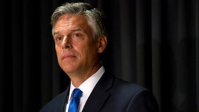 PHOTO: Jon Huntsman waits to give an address on foreign policy at Southern New Hampshire University, October 10, 2011 in Manchester, N.H.