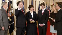 PHOTO: Ceremorial swearing-in for cameras at White House, for Supreme Court's newest justice, Samuel A. Alito Jr. Chief Justice John Roberts, right, swears-in Samuel Alito during ceremony in the East Room.