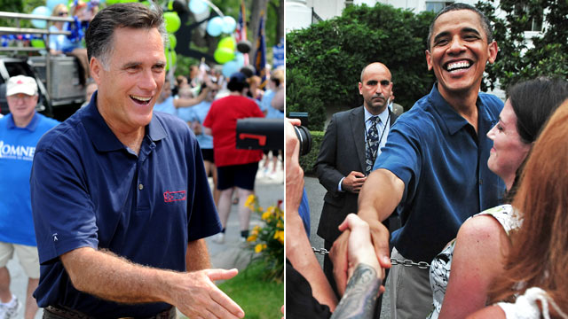 PHOTO: Left, Republican presidential candidate Mitt Romney and U.S. President and Democrat candidate Barack Obama are seen at Independence Day celebrations, July 4, 2011.