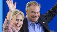 PHOTO: Democratic presidential candidate Hillary Clinton and Senator Tim Kaine at a campaign rally at Ernst Community Cultural Center in Annandale, Virginia, on July 14, 2016.