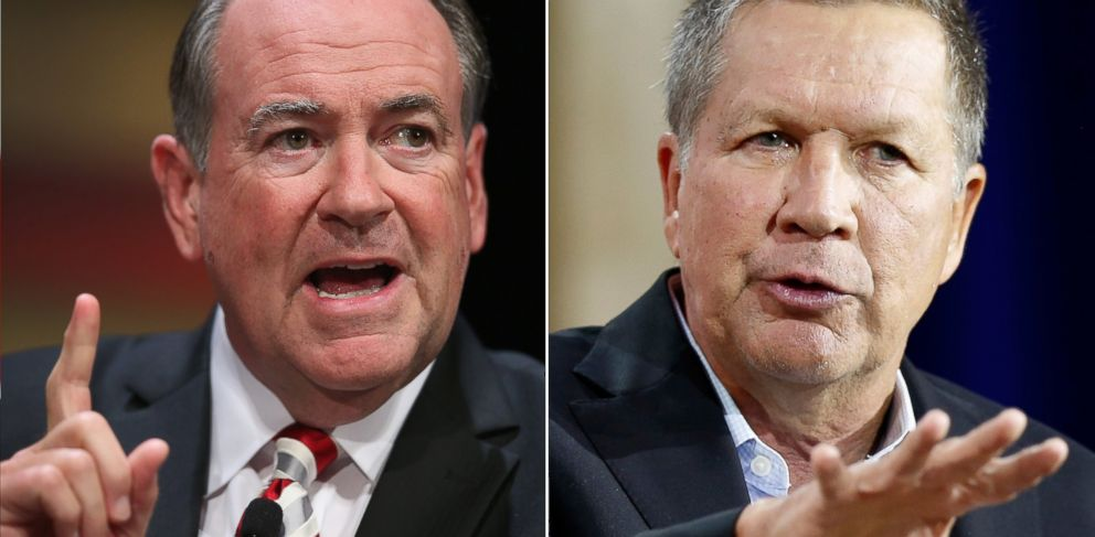 PHOTO: Mike Huckabee speaks at an event in Ames, Iowa on July 18, 2015 and John Kasich speaks at a summit in Londonderry, N.H. on Aug. 19, 2015.
