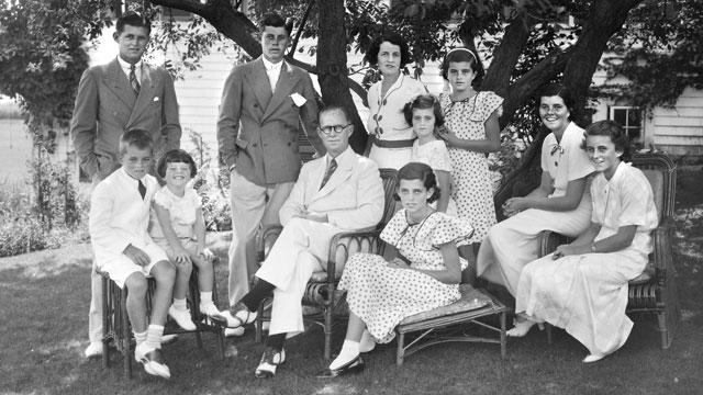 PHOTO: The Kennedy family poses in Hyannis, Mass, circa 1935. Seated from left, Robert, Edward, Joseph P. Sr, Eunice, Rosemary, and Kathleen; standing from left, Joseph P. Jr, John F., Rose, Jean and Patricia.