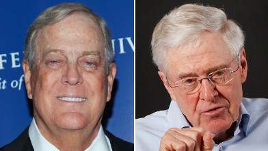 PHOTO: Philanthropist David Koch, left, celebrates 100 years of medical breakthroughs at The Rockefeller University, Oct. 7, 2010, in New York City. Right, Charles Koch speaks during an interview, May 22, 2012, in his office at Koch Industries, Wichita, K