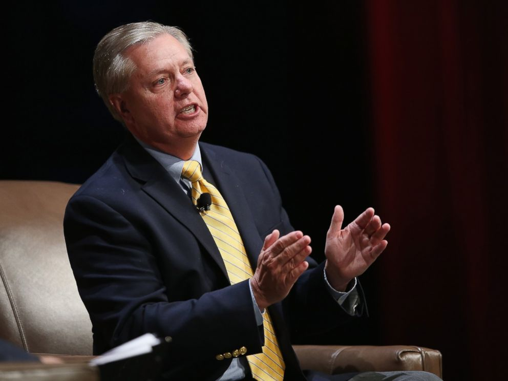 PHOTO:Senator Lindsey Graham of South Carolina fields questions at The Family Leadership Summit at Stephens Auditorium on July 18, 2015 in Ames, Iowa.