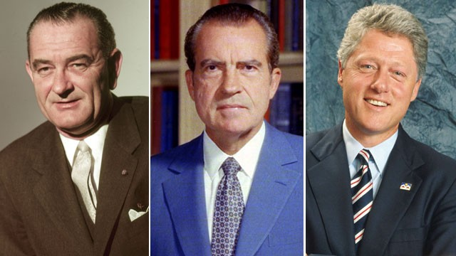 PHOTO: Portraits of American Presidents Lyndon B. Johnson, Richard Nixon and Bill Clinton are seen here.