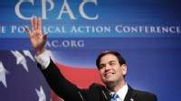 PHOTO: Marco Rubio waves to attendees at the annual Conservative Political Action Conference on February 18, 2010 in Washington, DC.