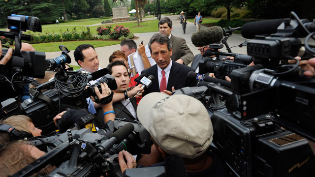 PHOTO: South Carolina Gov. Mark Sanford fields questions from the media following a special meeting with his Cabinet in the Wade Hampton Building at the Statehouse complex on June, 26, 2009. The cabinet meeting was the governor's f