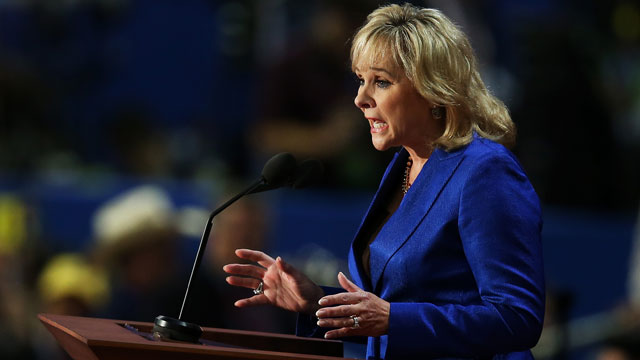 PHOTO: Oklahoma Gov. Mary Fallin speaks on stage during the Republican National Convention at the Tampa Bay Times Forum on August 28, 2012 in Tampa, Florida.