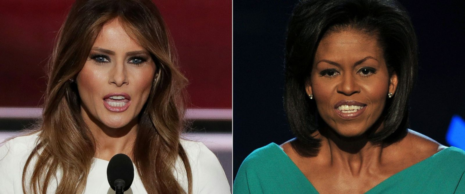 PHOTO: Melania Trump speaks to the Republican National Convention on July 18, 2016 in Cleveland and Michelle Obama speaks to the Democratic National Convention in 2008 in Denver.