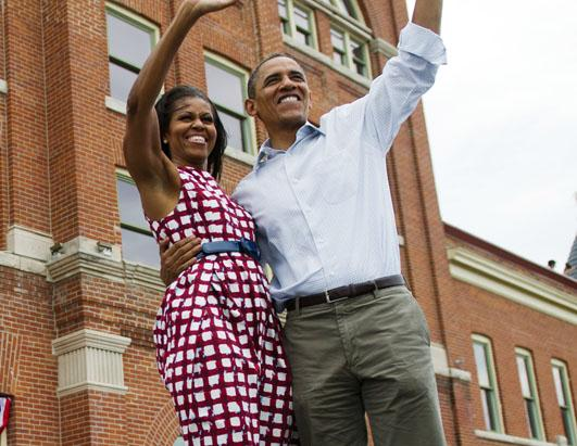 A Checkered Michelle Appears with the President