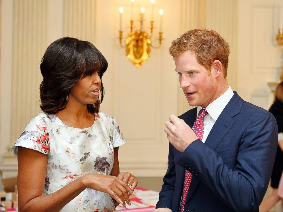 PHOTO: Prince Harry speaks with First Lady Michelle Obama during the first day of his visit to the United States on May 9, 2013 in Washington, DC.