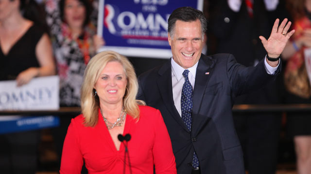PHOTO: Mitt Romney and his wife Ann greet supporters at a victory party following the close of voting for the Illinois primary March 20, 2012 in Schaumburg, Illinois.