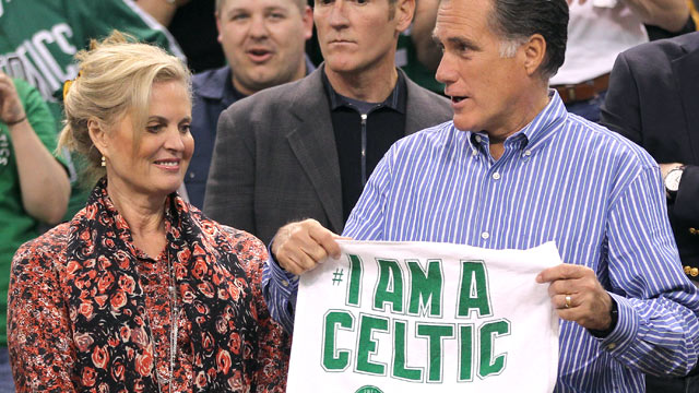 PHOTO: Republican presidential candidate Mitt Romney and his wife Ann are seen before the start of a game between the Boston Celtics and the Atlanta Hawks during the 2012 NBA Playoffs, May 6, 2012, TD Garden, Boston.