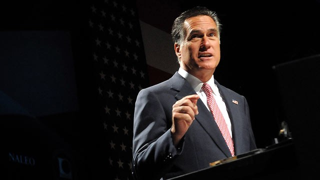 PHOTO: Republican presidential candidate Mitt Romney speaks at the National Association of Latino Elected and Appointed Officials' 29th Annual Conference, June 21, 2012, in Lake Buena Vista, Fla.