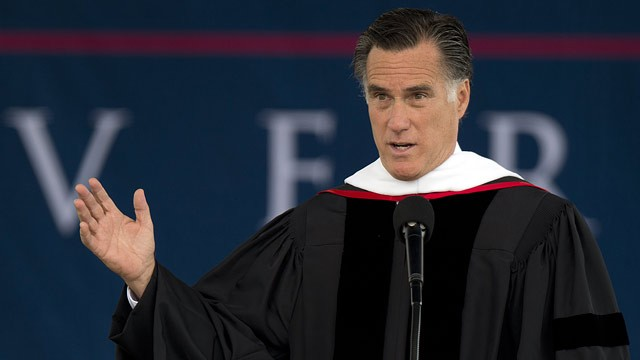 PHOTO: Republican Presidential hopeful Mitt Romney delivers the keynote address at Liberty University's 39th Annual Commencement in Lynchburg, Virginia, on May 12, 2012.