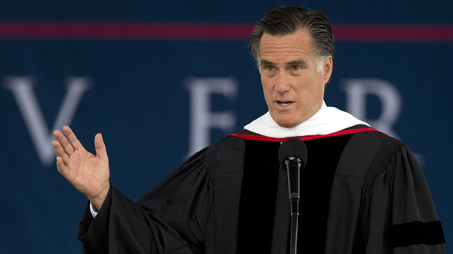 PHOTO: Republican Presidential hopeful Mitt Romney delivers the keynote address at Liberty Universitys 39th Annual Commencement in Lynchburg, Virginia, on May 12, 2012.