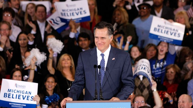 PHOTO: Republican Presidential Candidate, former Massachusetts Gov. Mitt Romney greets supporters at Surburban Collection Showcase after winning both the Michigan and Arizona primaries, Feb. 28, 2012 in Novi, Michigan.