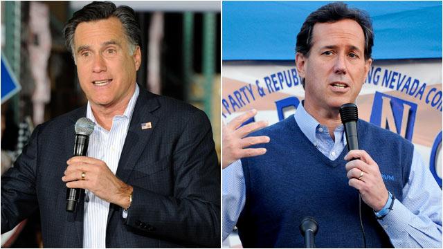 PHOTO: Former Mass. Gov. Mitt Romney speaks during a campaign rally at Brady Industries Feb. 1, 2012 in Las Vegas, Nevada.   Former U.S. Sen. Rick Santorum speaks during a town hall meeting, Jan. 31, 2012 in Las Vegas, Nevada.
