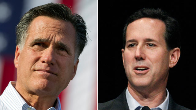 PHOTO: Mitt Romney and Rick Santorum Campaign in Alabama, March 13, 2012.
