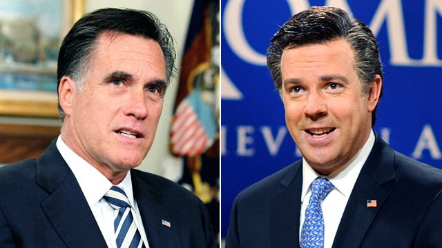 "PHOTO: Presidential candidate, former Massachusetts Gov. Mitt Romney, left, and ""Saturday Night Live"" actor Jason Sudeikis dressed as Romney, are shown in these file photos."