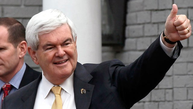 PHOTO: Newt Gingrich gives a thumbs up sign to supporters after speaking to the Vestavia Hills Chamber of Commerce at the Vestavia Hills Country Club March 13, 2012 in Birmingham, Alabama.
