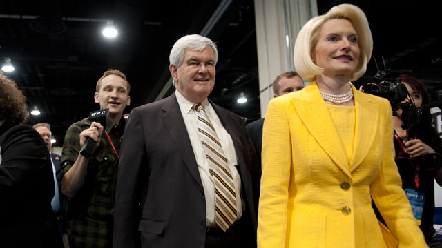 PHOTO: Former Speaker of the House Newt Gingrich and his wife Callista Gingrich stroll through the 2013 Conservative Political Action Conference at the Gaylord National Resort & Conference Center at National Harbor, Md., on March 16, 2013.