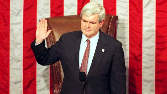 PHOTO: Congressman Newt Gingrich is sworn in as the first Republican Speaker of the House in 40 years during the opening session of the 104th US Congress in Washington DC, in this Jan. 4, 1995 file photo.