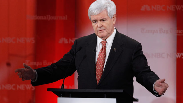 PHOTO: Newt Gingrich makes a point as he participates in the NBC News, National Journal, Tampa Bay Times debate held at the University of Sou