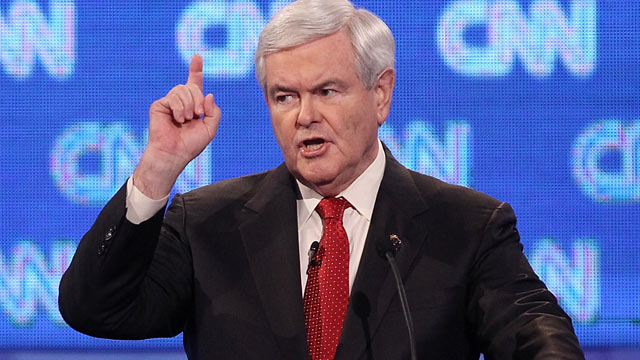 PHOTO: Republican presidential candidate former Speaker of the House Newt Gingrich, makes a point during the opening question of a debate at the North Charleston Coliseum Jan. 19, 2012 in Charleston, South Carolina.