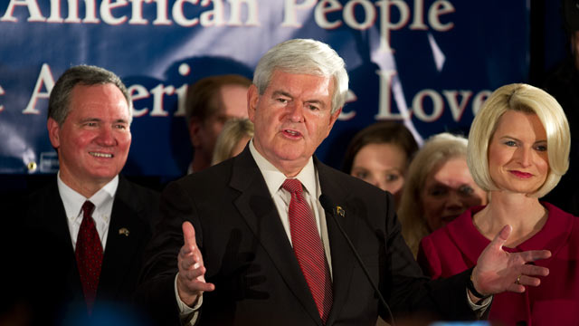 PHOTO: Republican presidential hopeful former Speaker Newt Gingrich acknowledges his South Carolina Republican Primary win at election night headquarters January 21, 2012 in Columbia, South Carolina.