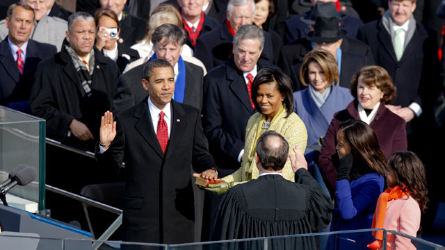 PHOTO: Barack Obama, left, is sworn in as the president of the United States during his inauguration at the U.S. Capitol in Washington, D.C., U.S., on Jan. 20, 2009.