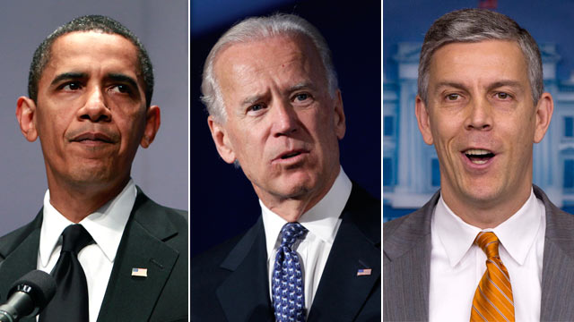 PHOTO: The pressure is on Barack Obama to support gay marriage after Vice President Biden and Education Secretary Arne Duncan endorsed gay marriage.
