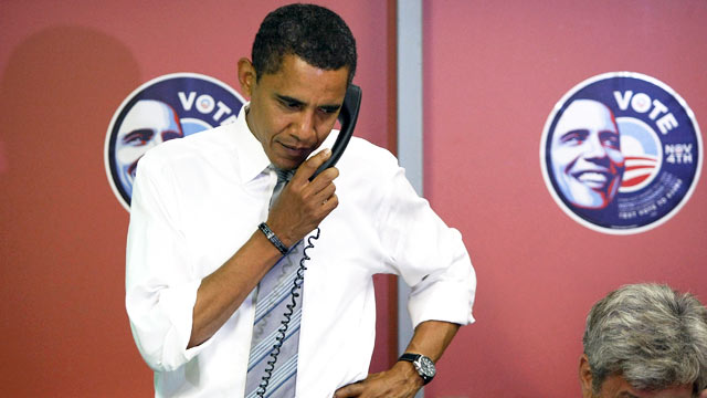 PHOTO: Barack Obama speaks on the phone at a campaign office in this file photo dated November 4, 2008 in Indianapolis, Indiana.