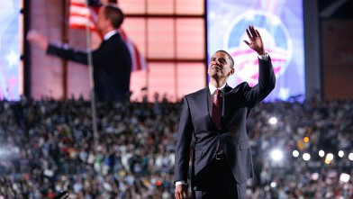 PHOTO: Democratic presidential nominee U.S. Senator Barack Obama speaks to the crowd gathered at Invesco Field on the final night of the Democratic National Convention.
