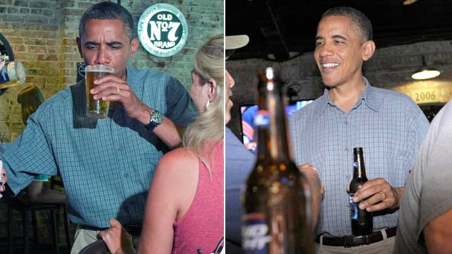 PHOTO: President Barack Obama was given a Miller Lite Draft beer to drink (left)and then was seen later drinking a Bud Lite (right) at Ziggys Pub and Restaurant Amherst, Ohio, July 5, 2012.