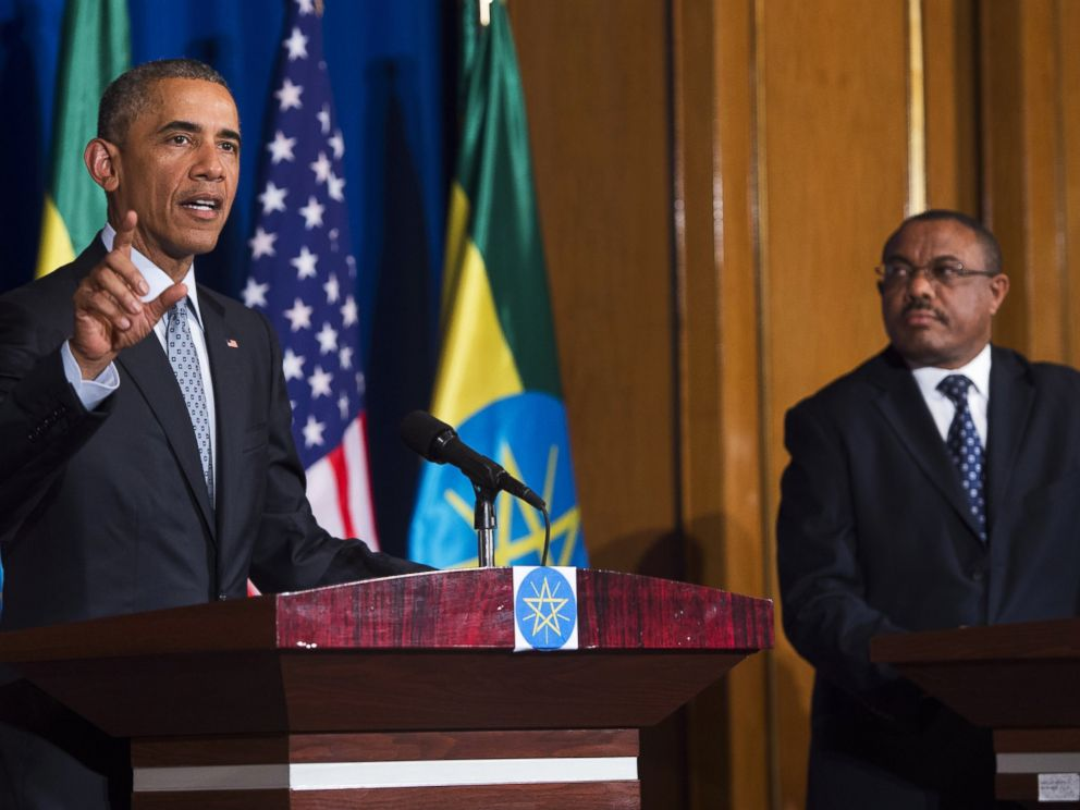 PHOTO: President Barack Obama speaks during a joint press conference with Ethiopian Prime Minister Hailemariam Desalegn at the National Palace, July 27, 2015, in Addis Ababa, Ethiopia.