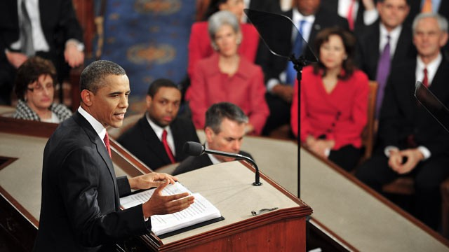 PHOTO: US President Barack Obama delivers his annual State of the Union Address before a joint session of Congress and the Supreme Court, Jan. 24, 2012 on Capitol Hill in Washington, DC.