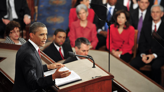 PHOTO: US President Barack Obama delivers his annual State of the Union Address before a joint session of Congress and the Supreme Court, Jan. 24, 2012 on Capitol Hill in Washington,