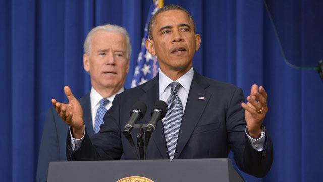 PHOTO: President Barack Obama speaks on proposals to reduce gun violence as Vice President Joe Biden watches, Jan. 16, 2013, in Washington, DC.