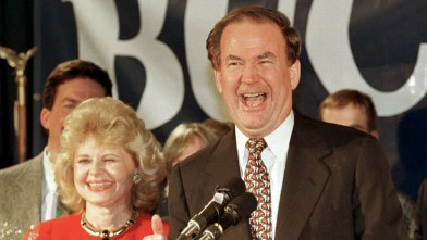 PHOTO: Republican presidential candidate Pat Buchanan laughs as he declares victory at his election night rally at the Courtyard Banquet Facility in Manchester Feb. 20, 1996 during the New Hampshire Primary.