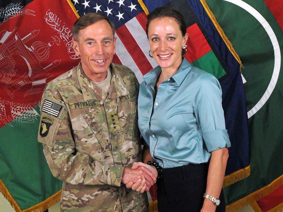 PHOTO: In this handout image provided by the International Security Assistance Force, former Commander of International Security Assistance Force and U.S. Forces-Afghanistan; CIA Director Gen. Davis Petraeus shakes hands with biographer Paula Broadwell.