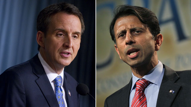 PHOTO: Former Minnesota Governor and Republican candidate for president Tim Pawlenty speaks at the Cato Institute in Washington, DC, May 25, 2011. Louisiana governor Bobby Jindal speaks to guests at the Conservative Political Action Conference (CPAC) at t