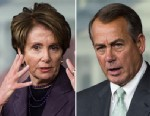 PHOTO: Nancy Pelosi, D-Calif., left, and John Boehner, R-Ohio, right, speak during their weekly on camera news conference in the Capitol, April 18, 2013.