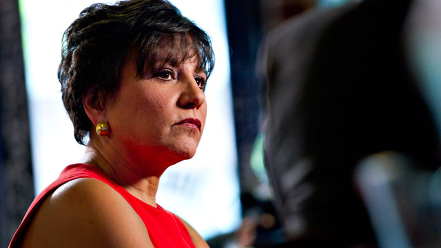"PHOTO: Penny Pritzker, chairman and chief executive officer of PSP Capital Partners LLC, listens during the ""Titans at the Table"" Bloomberg Television program in Chicago, Illinois on April 18, 2012."