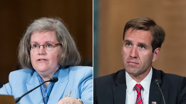 "PHOTO: Holly Petraeus, left, and Beau Biden, right, testify during the Senate Banking, Housing and Urban Affairs Committee hearing on ""Empowering and Protecting Servicemembers, Veterans and their families in the Consumer Financial Marketplace: A Status Up"