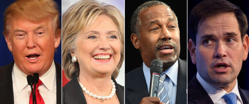 PHOTO: Donald Trump, left, Hillary Clinton, Ben Carson and Marco Rubio are all running a 2016 campaign for president.