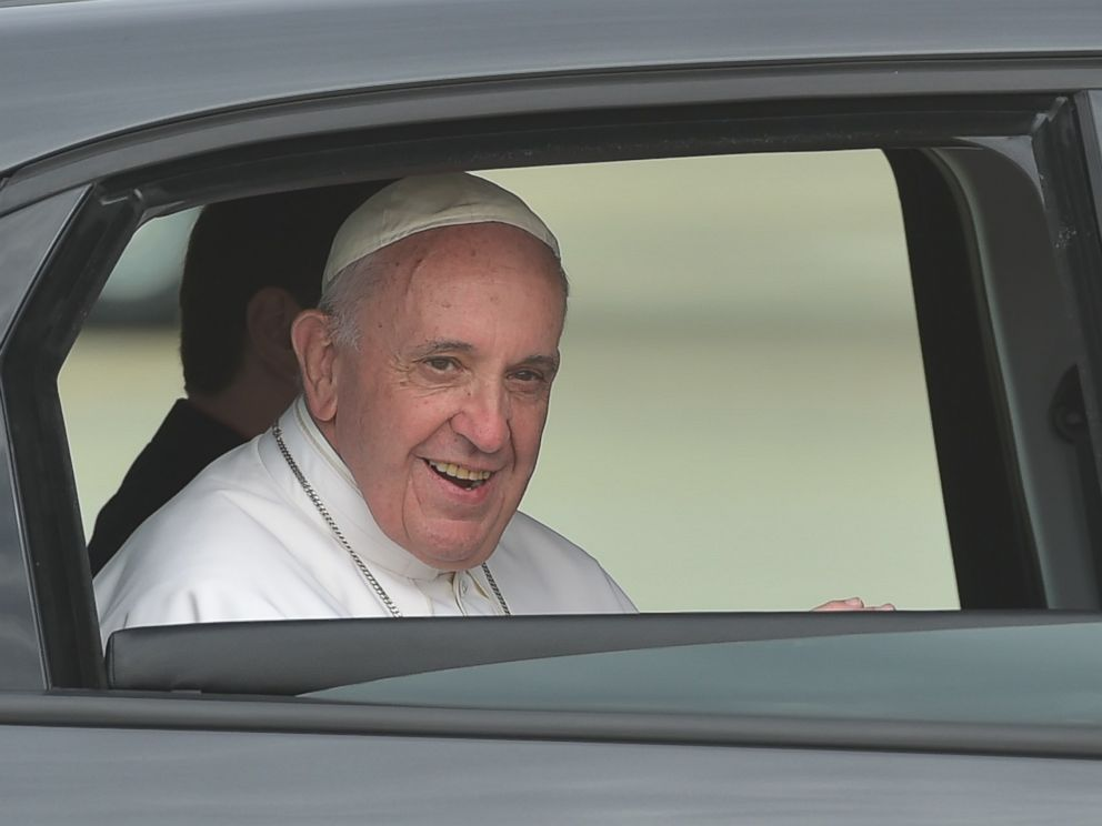 PHOTO: Pope Francis looks out of the window of his automobile after after his arrival at Andrews Air Force Base in Maryland on Sept. 22, 2015.
